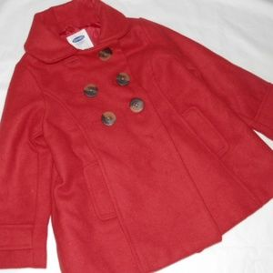 Old Navy Lined Pea Coat-Scarlet Red-Toddler Girl 2